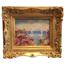 """Abstract Seascape View Pink Poppies"", Original Oil Painting by artist Sarah Kadlic, 13""x15"" Gold Gilt Leaf Wood Frame"