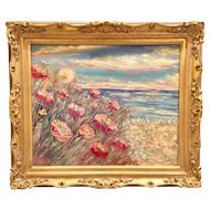"""Impressionist Impasto Sun Setting on Poppies - Seascape"", Original Oil Painting by artist Sarah Kadlic, 24""x20"" with Gilt Wood Frame"