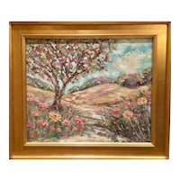 """Abstract Landscape with Tree Path"", Original Oil Painting by artist Sarah Kadlic, 24""x20"" with Gilt Leaf Wood Frame"