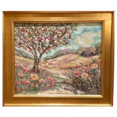 """""""Abstract Landscape with Tree Path"""", Original Oil Painting by artist Sarah Kadlic, 24""""x20"""" with Gilt Leaf Wood Frame"""