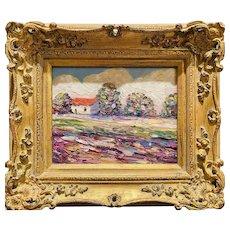 """Abstract Expressionist Impasto Landscape "", Original Oil Painting by artist Sarah Kadlic, 13"" x 15"" Gilt Leaf Carved Ornate Frame"
