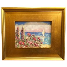 """Impressionist Seascape View"", Original Oil Painting by artist Sarah Kadlic, 13x15"" Gilt Wood Framed"