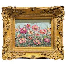 """Abstract Wildflowers Landscape "", Original Oil Painting by artist Sarah Kadlic, 15"" Gilt Leaf Ornate Wood Frame"