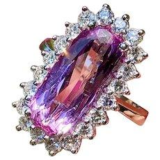 Vintage 18k White Gold 5.61ct Pink Kunzite VS Diamond Halo Cocktail Ring