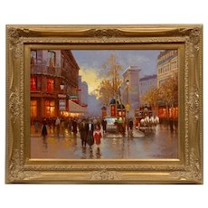 Beautiful French Original Oil Painting of Paris, France Signed by Artist Yuri Kuzmin (Russian, b. 1949)