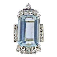 Impressive Art Deco 1940s 14k Gold Large 27ctw Aquamarine Diamond Necklace Pendant