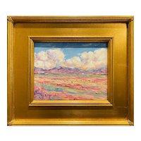 """Abstract Impressionist Landscape"", Original Oil Painting by artist Sarah Kadlic, 16"" Gilt Leaf Wood Frame"