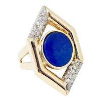 Striking Vintage Retro 14k Gold Lapis Lazuli & Diamond Ring