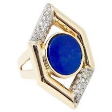 Striking Vintage Retro 14k Gold Lapis Lazuli & Diamond Ring