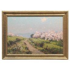 """""""Pommes en Fleur (Normandie)"""", Original Oil Landscape Painting by French Artist Leon Launay (1890 - c.1956)"""