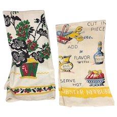 Pair Set Vintage Tea Towels Geraniums and Lobster Newbury Recipe