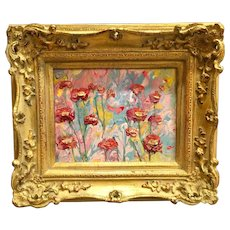 """Abstract Pink & Yellow Marbling"", Original Acrylic Painting by artist Sarah Kadlic, 8x10"" Gilt Wood French Style Frame"