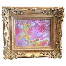 """""""Abstract Pink & Yellow Marbling"""", Original Acrylic Painting by artist Sarah Kadlic, 8x10"""" Gilt Wood French Style Frame"""