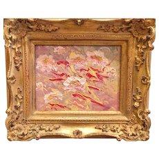 """Abstract Pink Yellow Marbling"", Original Impasto Painting by artist Sarah Kadlic, 8x10"" Gilt Wood European Frame"