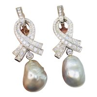 Stunning Designer Marlene Stowe $8500 18K Gold 2.62ct Diamond Convertible Day to Night Baroque Cultured Pearl Earrings