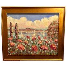 """Mediterranean Wildflowers Seascape"", Original Oil Painting by artist Sarah Kadlic, 24x20"" Gilt Frame"