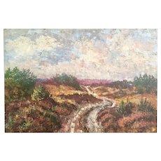 "Beautiful Mid Century Danish Original Oil Painting Large Impasto Landscape 25x34.5""  Artist P. Sorensen Randbol - Signed"