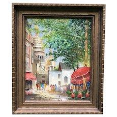Lovely Mid Century Modern Vintage 1970s Paris Street Scene Original Oil Painting on Canvas