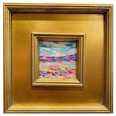 """Abstract Impasto Landscape"", Original Oil Painting by artist Sarah Kadlic, 10"" Gilt Leaf Wood Frame"