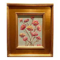 """Abstract Wildflowers on Pale Blue"", Original Oil Painting by artist Sarah Kadlic, 13x15"" With Gilt Leaf Wood Frame"
