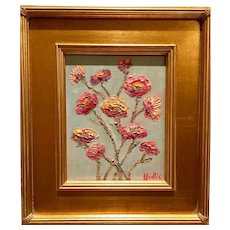 """""""Abstract Wildflowers on Pale Blue"""", Original Oil Painting by artist Sarah Kadlic, 13x15"""" With Gilt Leaf Wood Frame"""