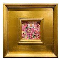 """Abstract Impasto Floral"", Original Oil Painting by artist Sarah Kadlic, 10"" Gilt Leaf Wood Frame"
