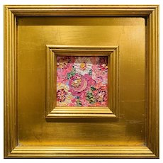 """Abstract Impasto Floral"", Original Oil Painting by artist Sarah Kadlic, 10"" Gilt Leaf Wood Frame"