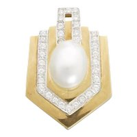 Stunning 18k Gold Retro 1970s Cultured Pearl 1.60 VS Diamond Pendant for Necklace