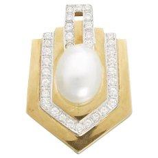 Stunning 18k Gold Retro 1970s Cultured Pearl 1.60 VS Diamond Pendant for Necklace