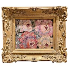 """Abstract Impressionist Old World Roses"", Original Oil Painting by artist Sarah Kadlic, 13""x15"" Gilt Leaf  Carved French Frame"
