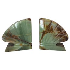 Beautiful Chic Retro Vintage Estate Marble Onyx Style Alabaster Bookends - Red Tag Sale Item