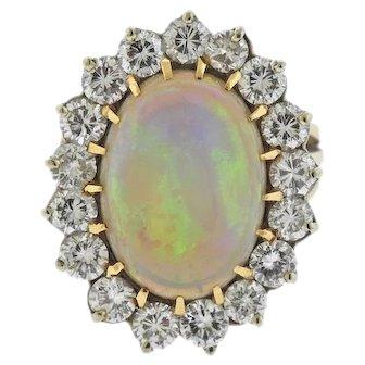 Impressive Striking 16 Carat Opal VS Diamond 14k Gold Cocktail Ring
