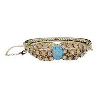 Vintage Retro Midcentury 14k Yellow Gold VS Diamond Opal Bangle Bracelet