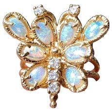 Vintage 1960s Estate 14k Yellow Gold Opal & Diamond Butterfly Cocktail Ring