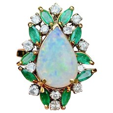 Vintage Estate 14k Gold Opal Diamond Emerald Halo Pear Shaped Cocktail Ring Convertible Necklace Pendant