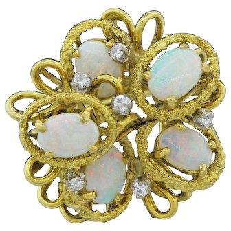 Stunning Vintage Estate Freeform 18k Gold (Yellow) 3.18 cttw Opal Diamond Ring, 13g.
