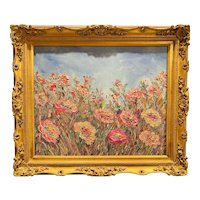 """Impressionist Floral Wildflowers Impasto"", Original Oil Painting by artist Sarah Kadlic, 26x30 Framed Gilt Wood Ornate"
