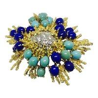 Designer George Schuler PP (Tiffany, Neiman Marcus Designer) 1950s Turquoise Lapis Diamond 18k Gold Brooch / Pin / Fur Clip Pendant