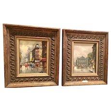 Beautiful Pair of Midcentury Vintage 1950s/60s Antonio DeVity Original Oil Paintings - Paris Street Scenes Gilt Framed