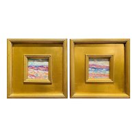 """Pair of """"Abstract Landscape Impasto"""" Original Oil Paintings by artist Sarah Kadlic, Two 10x10"""" Gilt Wood Frames"""