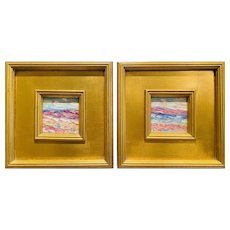 "Pair of ""Abstract Landscape Impasto"" Original Oil Paintings by artist Sarah Kadlic, Two 10x10"" Gilt Wood Frames"