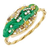 STUNNING Peter Lindeman Handmade 14k Gold Jade Rough and Brilliant Cut  Diamond Bangle Bracelet