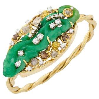 STUNNING Peter Lindeman Handmade 14k Gold Jade Rough and Brilliant Cut  Diamond Bangle Bracelet