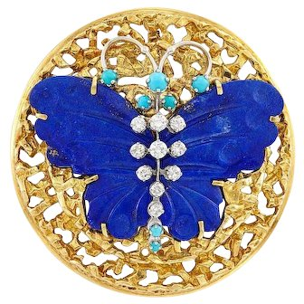 Impressive Handmade 18k Gold Peter Lindeman (In Museums) Carved Lapis Diamond Turquoise Butterfly Pendant Brooch