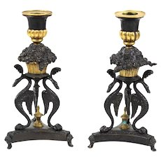 Lovely Pair of French Bronze Phoenix Candle Stick Holders
