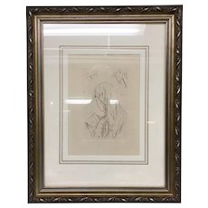 """Pierre Bonnard """"Jeune Fille Lisant"""" (Young Girl Reading) Etching Posthumous 1965 Edition Etching framed is approximately 16x20"""" - Red Tag Sale Item"""