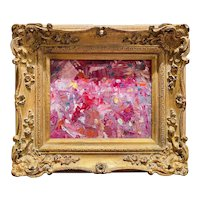 """Abstract Expressionist Impasto Pinks"", Original Oil Painting by artist Sarah Kadlic, 15"" Gilt Leaf Wood Frame"
