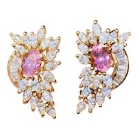 Impressive Vintage Estate 14k Gold 5.60ctw Pink Tourmaline Diamond Cluster Drop Earrings