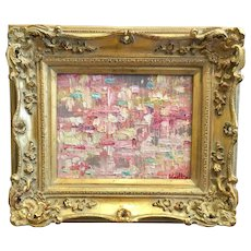 """Abstract Pink & Gray Geometric Impasto"", Original Oil Painting by artist Sarah Kadlic, 8x10"" Gilt Wood Carved Frame"