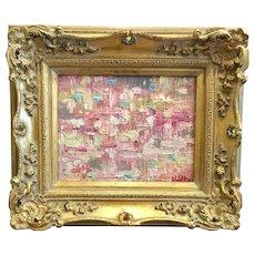 """Abstract Pink & Gray Geometric Impasto"", Original Oil Painting by artist Sarah Kadlic, 8x10"" Gilt Wood Carved Frame"